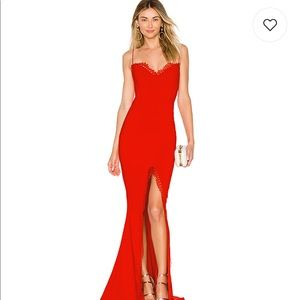Chloe lace gown in red Nookie